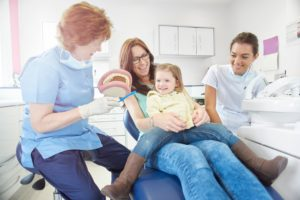 family in dental chair